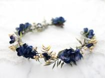 wedding photo - Navy blue flower crown wedding, dark hair wreath, boho bride crown, bridal rustic crown, woodland floral crown, navy flower girl halo