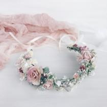 wedding photo - Flower crown, Blush flower crown, Flower wedding crown, Flower girl crown, Bridal flower crown, Bridal flower hair, Bridesmaids