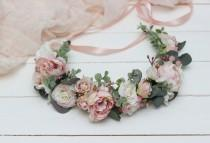 wedding photo - Blush flower crown Romantic wedding Bridal floral headband Wedding hair wreath Hair flowers Bridesmaid crown Maternity Eucalyptus
