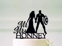 wedding photo - Captain America Cake Topper, Superhero Wedding Cake Topper, Superhero Silhouette, Mr and Mrs Topper, Cake Topper With Last Name#67