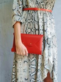 wedding photo - Red leather clutch bag / Red envelope clutch / Genuine leather / Leather bag / Bridesmaid gift / Red ipad case / MEDIUM SIZE