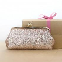 wedding photo - Rose Gold Sequins (small glossy) Photo Clutch