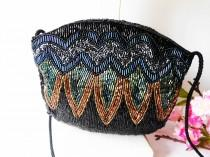 wedding photo - Vintage Beaded Evening Bag, Black Copper Gold Teal EB-0540
