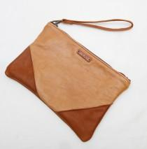 wedding photo - Leather Clutch, Brown Leather Clutch, Two Tone Leather Clutch, Leather Wristlet, Genuine Leather Clutch