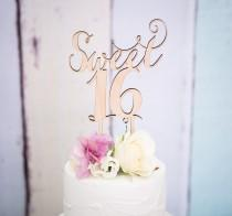 wedding photo - Sweet Sixteen Cake Topper for 16th Birthday Party in Wood or Glitter, Girl's Birthday Cake Topper 16th Sixteenth Birthday (Item - SWS900)