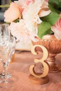 wedding photo - Rose Gold Table Numbers for Wedding and Party Decor, Wooden Standing Table Number Signs for Centerpieces (Item - NUM110)