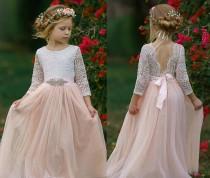wedding photo - Blush Tulle Flower Girl Dress, White Lace Flower Girl Dress, Boho Flower Girl Dresses, Rustic Flower Girl Dresses, Toddler Tutu Dress,