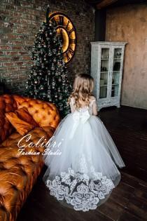 wedding photo - Lace Flower Girl Dress, Flower Girl Dress Long Sleeve, White Flower Girl Dresses , Tulle Flower Girl Dress, Toddler Dress, Communion Dress