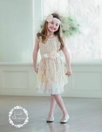 wedding photo - flower girl dress, flower girl dresses, lace baby dress, rustic girl dress, lace flower girl dress, country flower girl, champagne dress 2