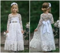 wedding photo - White Flower Girl Dress, Lace Flower Girl Dress, Boho Flower Girl Dresses, Long sleeve lace dress, Rustic flower girl dress, Communion Dress