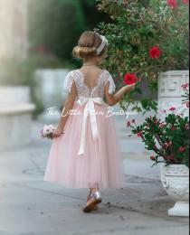 wedding photo - Ivory Flower girl dresses, Tulle flower girl dress, long sleeve flower girl dress, rustic lace flower girl dress, Boho flower girl dress