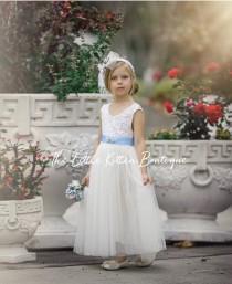 wedding photo - White flower girl dress, Ivory Flower Girl dress, rustic lace flower girl dress, flower girl dresses, boho flower girl, communion dress