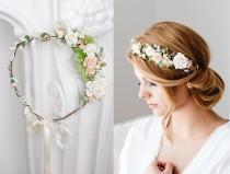 wedding photo - Eucalyptus Flower Crown, Wedding Hair wreath, Bridal hair accessories,Fairy Crown,Floral hair garland,Hair band,Headband Bride or Bridesmaid