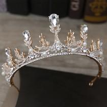 wedding photo - Gorgeous Sparkling Gold AUSTRIAN CRYSTAL CROWN with crystal beads and white pearls bridal crown princess crown Wedding Crown