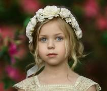 wedding photo - ivory Flower Crown, Flower Tiara, Floral crown, Flower Halo, Bohemian flower crown, Bridal Crown, Flower girl Crown, Floral Hair Wreath