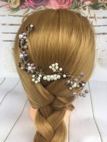wedding photo - Bridal Hair Comb Purple hair jewerly Amethyst Hairpiece Violet Hair Clip Purple Hair Comb Lavender Headpiece Lilac Bridesmaid hair clip