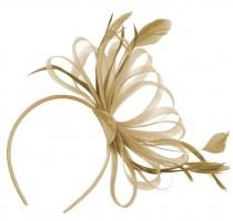 wedding photo - Beige Gold Large Wedding Fascinator Headband Aliceband Ladies Day Races Royal Ascot