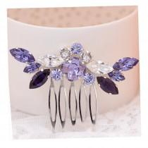 wedding photo - Purple Bridal hair comb, Ayumi, bridalhair comb, purple headpiece, Wedding headpiece, Leaf headpiece, Swarovski crystal hair comb
