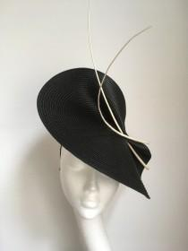 wedding photo - Black white Fascinator hat, black white fascinator hat Wedding Ascot Derby Races, black white Kentucky Derby fascinator hat, black hat