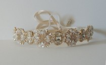 wedding photo - Ada Gold Wedding bridal headpiece crystal headband headpiece satin ribbon vintage inspired art deco style