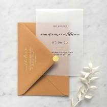 wedding photo - Vellum Minimal Save The Date with Choice of Envelope & Gold Sticker - SEE DETAILS BELOW...