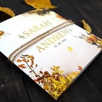 wedding photo - Autumn Wedding Invitation With Envelope & Rustic Twine, Trifold Wedding Invitations, Evening Reception Invitation, Fall Wedding Invitation
