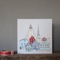 wedding photo - Reykjavik Greetings Card - Scandinavian Design - Iceland Print - Eco Card - Reykjavik Skyline - Reykjavik Cityscape