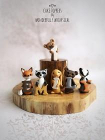 wedding photo - Forest Woodland Animal Theme Cake Topper Birthday Set Letters Name Age Baby Christening Handmade Clay Children Keepsake Personalise Custom