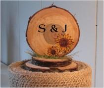 wedding photo - Sunflower Wedding Cake Topper, Sunflower Wedding, Sunflower Cake Topper, Wood Slice Wedding Cake Topper, Personalized Wedding Cake Topper