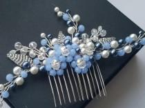 wedding photo - Blue Bridal Hair Comb, Dusty Blue White Hair Piece, Wedding Navy Blue Pearl Headpiece, Pearl Crystal Floral Hair Piece, Bridal Hair Jewelry