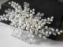 wedding photo - Pearl Crystal Bridal Hair Comb, Wedding Hair Piece, White Pearl Crystal Headpiece, Bridal Pearl Hair Jewelry, Crystal Pearl Bridal Hairpiece