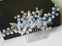 wedding photo - Dusty Blue Hair Comb, Bridal Blue Silver Headpiece, Light Blue Hair Piece, Wedding Blue Headpiece, Bridal Hair Jewelry Prom Hair Accessories