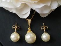 wedding photo - Pearl Gold Jewelry Set, Swarovski Ivory Pearl Earrings&Necklace Set, Wedding Pearl Set, Bridal Pearl Jewelry, Gold Pearl Bridal Jewelry Set