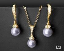 wedding photo - Lavender Pearl Gold Jewelry Set, Swarovski 8mm Pearl Earrings&Necklace Set, Lilac Pearl Bridal Jewelry Set, Lavender Pearl Wedding Jewelry