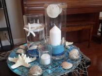 wedding photo - Beach Candle Seashell Cylinder Vase Centerpiece Set-Wedding--Floating Candle-Party-Birthday-Anniversary-Birthday-Sweet 16-Beach Wedding