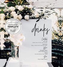 wedding photo - Juliette Minimalist Drinks Sign
