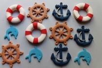 wedding photo - Nautical cake gum paste fondant marine cupcakes topper sailor boat cake sugar decoration