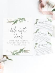 wedding photo - Date night advice game card INSTANT DOWNLOAD, Bridal shower, Hens night, Bachelorette, Brunch, Games, Words of advice, date ideas
