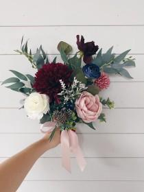 wedding photo - Wedding bouquet, Bridal bouquet burgundy, Burgundy Bridesmaids Bouquet, Wedding Flowers, Navy Wedding bouquet, Bouquet wedding burgundy