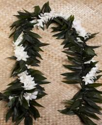 wedding photo - Maile Ti leaf Lei With Orchid