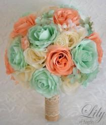 wedding photo - Wedding Bouquet, Bridal Bouquet, Bridesmaid Bouquet, Silk Flower Bouquet, Wedding Flowers, 17 Piece Package, Mint, Peach, Lily of Angeles