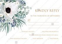 wedding photo - RSVP card invitation set white anemone menthol greenery berry PDF 5x3.5 in PDF editor