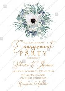wedding photo - Engagement party wedding invitation set white anemone menthol greenery berry PDF 5x7 in instant maker