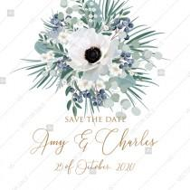 wedding photo - Save the date wedding invitation set white anemone menthol greenery berry PDF 5.25x5.25 in PDF template