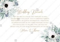 wedding photo - Wedding invitation set white anemone menthol greenery berry PDF 5x3.5 in customize online