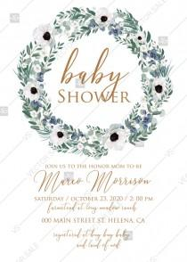 wedding photo - Baby shower wedding invitation set white anemone menthol greenery berry PDF 5x7 in edit online