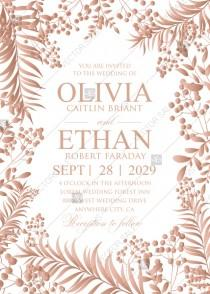 wedding photo - Gold Foil greenery wedding invitation set herbal design PDF 5x7 in invitation editor