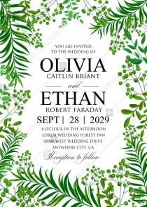 wedding photo - Greenery wedding invitation set watercolor herbal design PDF 5x7 in invitation editor