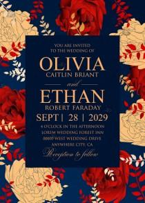 wedding photo - Red gold foil Rose navy blue wedding invitation set PDF 5x7 in