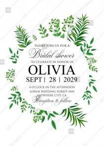 wedding photo - Greenery bridal shower wedding invitation set watercolor herbal design PDF 5x7 in invitation maker